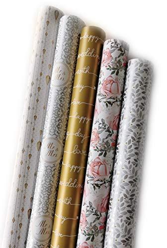 artwelten Home & Style Edles Hochzeits Geschenkpapier Set Gold Silber mit Rosen und Blumen - 5 Rollen je 2m x 0,70m Geschenkverpackung für Hochzeiten, Geburtstage Mr. & Mrs.