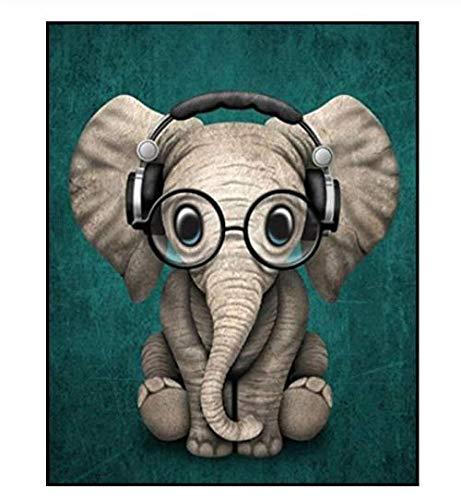 LJLSLH schilderen op cijfers dieren wekker olifant bril tekening afbeelding muurkunst olieverfschilderij door nummers kinderen handgeschilderd Geen frame.