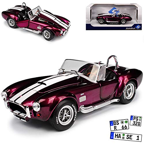 Ford Shelby AC Cobra 427 MKII S/C Purple Lila 1962-1968 1/18 Solido Modell Auto mit individiuellem Wunschkennzeichen