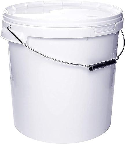 Seau avec couvercle   1 x 20 Litres   Blanc Plastique Alimentaire Qualité de meilleure