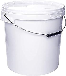 Seau avec couvercle | 1 x 20 Litres | Blanc Plastique Alimentaire Qualité de meilleure