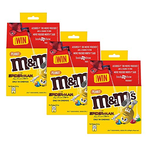 M&M's Peanut Coated with Milk Chocolate, 100g (Pack of 3)