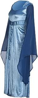 LODDD Women Halloween Retro Trumpet Long Sleeve Hooded O Neck Cosplay Performing Dress
