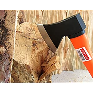 Tabor Tools J60A Chopping Axe, Hand Axe, Camp Hatchet for Splitting Kindling and Chopping Branches, With Strong Fiberglass Handle and Anti-Slip Grip (14 Inch Chopping Axe)