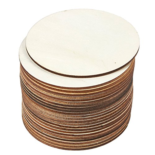 Juvale 24 Pieces Unfinished 4 Inch Wood Circle Cutouts for Wooden Coasters, DIY Crafts and Home Decoration (Best Way To Cut Mdf Shapes)