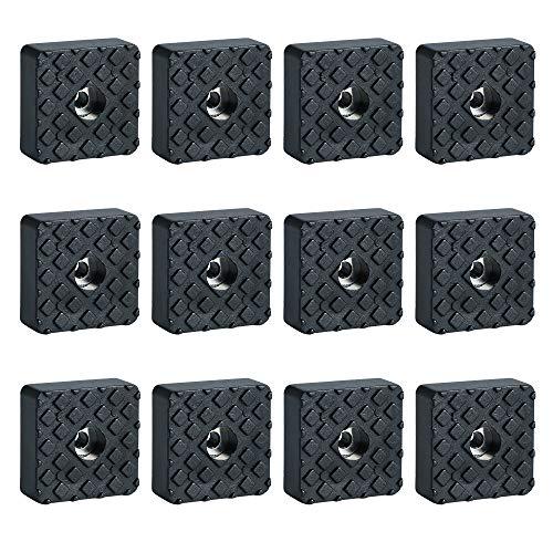 Sayayo Non-Slip Rubber Furniture Floor Pads 30MM*30MM, 12 Pcs Black, EJD250B-12P