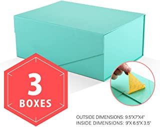 PACKHOME Gift Boxes Rectangular 9.5x7x4 Inches, Bridesmaid Boxes Rectangle Collapsible Boxes with Magnetic Lids for Gift Packaging (Matte Turquoise with Embossing, 3 Boxes)