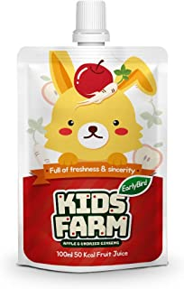 Early Bird Kids Farm Natural Kids Juice Drink Pouch, 6 Flavor 3.4 fl oz (Apple Ginseng) (Pack of 10)