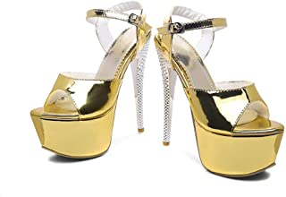 Summer Word Band Waterproof Platform Sandals, Large Size High-heeled Round Head Women's Shoes, Hollow Open-toe Artificial PU Material High Heels
