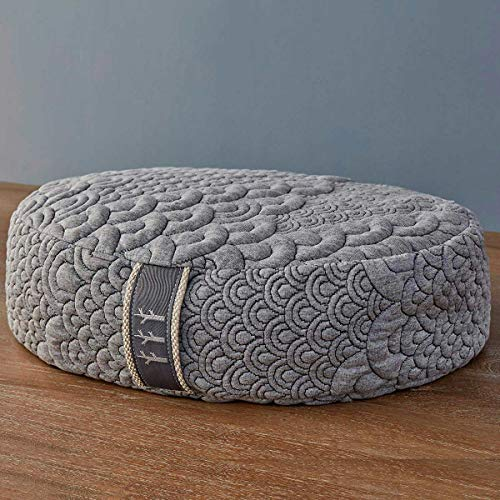 Brentwood Home Crystal Cove Meditation Cushion, Buckwheat Zafu Oval Floor Pillow, Made in California