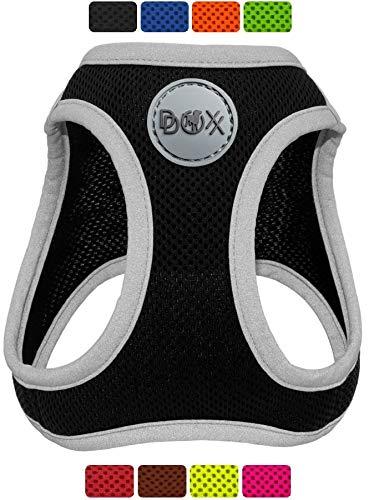 DDOXX Brustgeschirr Air Mesh, Step-In, reflektierend, verstellbar, gepolstert | viele Farben & Größen | für kleine & mittlere Hunde | Hunde-Geschirr Hund Katze Welpe | Katzen-Geschirr | Schwarz, S