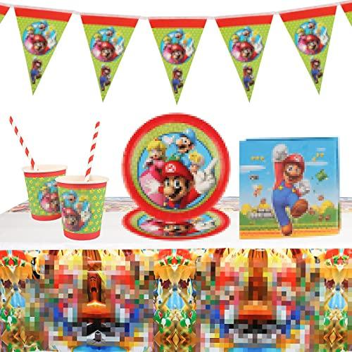 Gxhong Birthday Party Set, 52 pièces Vaisselle de fête, Anniversaire Vaisselle Décoration Kit, Décoration d'anniversaire pour Enfants, pour Décorations de Fête, Baby Showers
