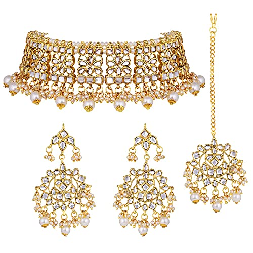 I Jewels 18k Gold Plated Indian Wedding Bollywood Designer Pearl Kundan Choker Necklace Jewelry Set for Women (K7069W)