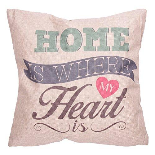 Puckator Housse et Coussin 43x43 cm CUSH74-design Home Where My Heart is, Gris Clair/Vert/Marron/Rose/Bleu