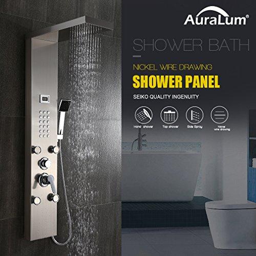 Auralum – Edelstahl Duschpaneel-Set mit Massagejets, Wasserfall und LCD-Display - 2