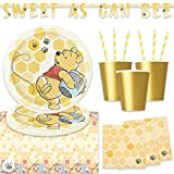 Winnie The Pooh Birthday Party Pack for Up to 16 Guests With Plates, Napkins, Cups, Banner, Tablecover, Yellow Straws and Pin, by Another Dream