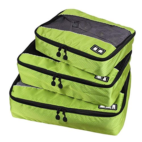 Set of 3 Storage Bags for Luggage Cube Cover Clothing Travel Organiser Suitcase, Green
