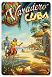Cartel de estaño para decoración de pared Varadero, Cuba Dancers - Kerne Erickson - Cartel de viaje vintage de metal para pared, para casa, bar, bar, bar, decoración de café, 20 x 30 cm