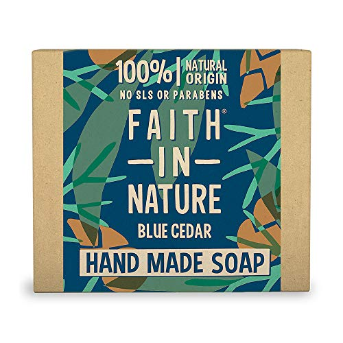 Faith in Nature Natural Blue Cedar Hand Soap Bar, Uplifting Vegan and Cruelty Free, Parabens and SLS Free, 100 g
