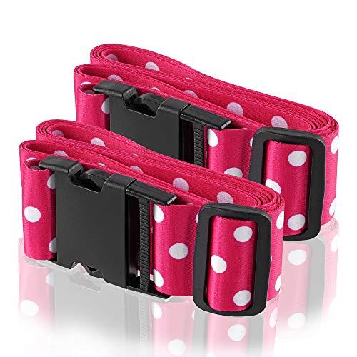 Wenter.S Koffergurte-farbig - einzigartiges Kofferband - Premium Gepäckgurt zur Individualisierung Ihrer Koffer - 2 St Pink Punkte Gurt in stylischen Designs - praktisches Kofferband
