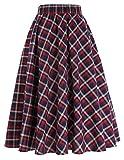 High Waist Vintage A-Line Skirt Grid Pattern Plaid Size XL KK495-1