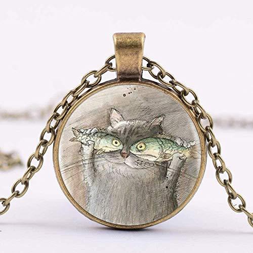 huangshuhua Precioso Gato y pez Cristal cabujón Colgante Collar Animal declaración Collar Mujeres joyería