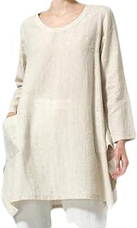 MK988 Womens Cotton Linen Loose Fit Long Sleeve Pure Color Blouse T-Shirt Top