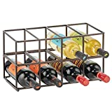mDesign Stackable, Metal Geometric Free-Standing Water Bottle and Wine Rack Storage Organizer for Kitchen Countertops, Pantry, Fridge - Holds 8 Bottles - 2 Pack - Bronze