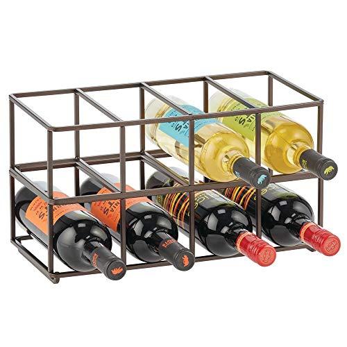 mDesign 2er-Set Wein- und Flaschenregal – Weinregal mit ansprechendem Design – Weingestell aus Edelstahl für bis zu jeweils 8 Flaschen – bronzefarben