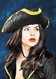 Lamentando el sombrero Tricornio Pirata negro con ribetes de oro