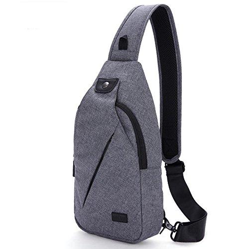LYY Sac de Poitrine Nylon Imperméable à L'eau de Voyage Imperméable Résistant à L'usure Grande capacité Poitrine Sac Messenger Sac Sling Bag, Gray