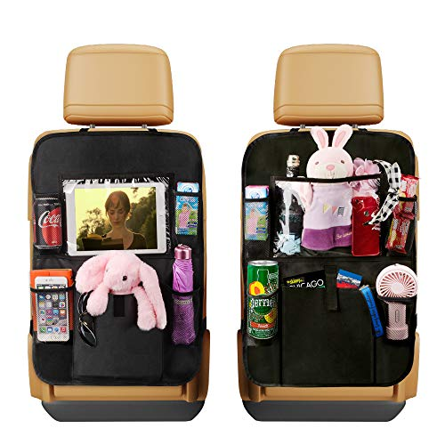 "AIBEIS Car Seat Organizer Kick Mats, Car Seat Back Protectors with Clear 10"" Tablet Holder + 5 Storage Pockets Back seat Organizer for Kids Toy Bottle Drink Vehicles Travel Accessories"