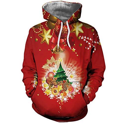 Unisex Sweatshirt Kolylong® Herren Damen Pullover Weihnachts 3D Druck Schneemann/Schneeflocke/Weihnachtsmann Hoodie mit Tasche und Kordelzug Sport Shirt Winter Kapuzenpullover Pulli