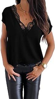 Women Short Sleeve Lace Patchwork Trim V-Neck Pure Color...