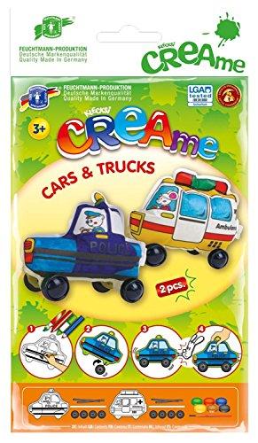 Feuchtmann Spielwaren 6340700 - Klecksi Creame Cars and Trucks, 3D - Malvorlage, Motiv Polizei und Ambulanz