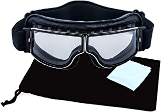 retro motorcycle goggles over glasses