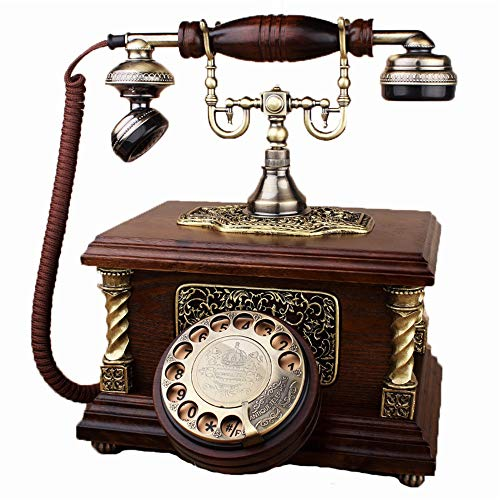 QERNTPEY Vintage Style Telephone Retro Rotary Dial Phone Landline Desk Telephone,Corded Phone for Home and Decor,Red Brown Best Gift Traditional Landline Phones (Color : Red Brown, Size : 22x23x26cm)