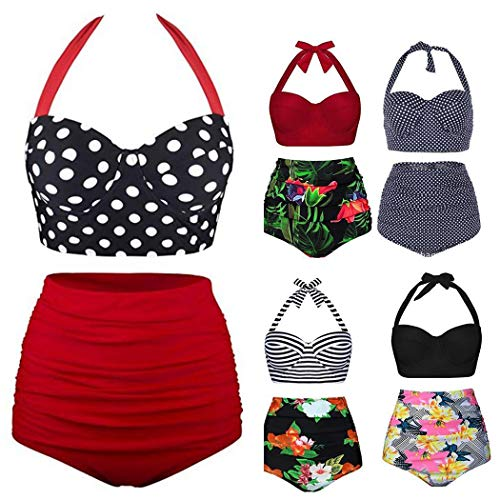 Whatyiu Women Bikini Set Swimsuit High Waist Pattern Print Bathing Suit Beach Swimwear