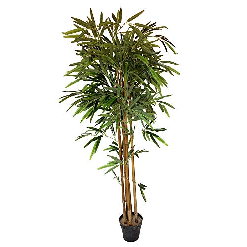 Wellhome Planta de bambú Artificial de 130 cm de Altura con Maceta