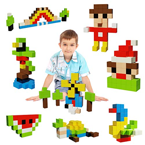 """PicassoTiles 1"""" Magnetic Puzzle Cubes 108 Piece Magnet Construction Building Block Set Sensory Toy Early Education STEM Learning, Free Ideabook with 50 Ideas, Children Age 3+ Boy Girl PMC108"""