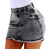 CCatyam Plus Size Denim Skirt for Women Pocket High Waist Mini Dress Sexy Party Summer Gray