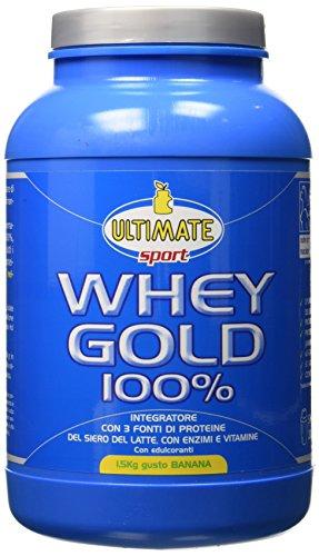 Ultimate Italia Whey Gold 100% - Proteine Del Siero Del Latte Isolate E Idrolizzate – Integratore Di Proteine Per La Crescita E Il Mantenimento Della Massa Muscolare Magra, Gusto Banana, 1.5 Kg –