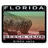 Florida Beach Mouse Pad Diseño de póster de hamacas en The Sand Beach Club Tipografía Rectángulo Alfombrilla Antideslizante Tamaño estándar