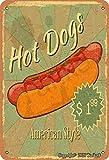 Hot Dogs American Style Iron 20 x 30 cm Vintage Look Decoración Artesanía Letrero para Hogar Cocina Baño Granja Jardín Garaje Citas inspiradoras Decoración de pared