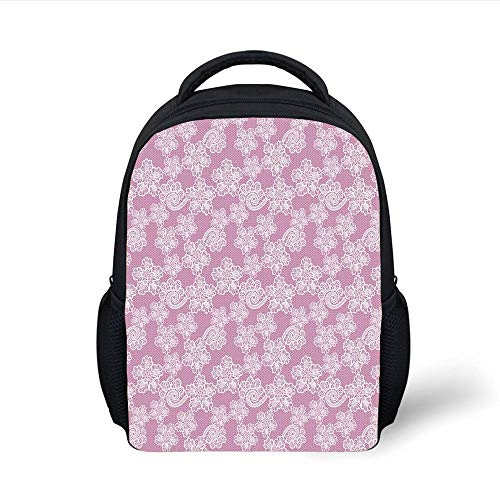 Kids School Backpack Floral,Lace Pattern with Warm Colored Background Line Traditional Design Bridal Influences,Lilac White Plain Bookbag Travel Daypack
