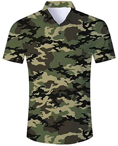 RAISEVERN Camisa Hawaiana Divertida de Verano para Hombre Camisas Casuales de Manga Corta Trajes Ropa de Vacaciones botón Ropa Hawaii Aloha M-XXL