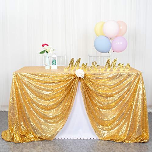 ShinyBeauty Nappe à Paillettes argentée Linge de Table à Paillettes pour nappes de Noël Nappe rectangulaire à essuyer pour Mariage / fête 60 x 102 Pouces (60 x 102 Pouces, Or)