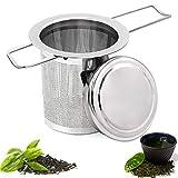 WELLXUNK® Filtros para té, Acero Inoxidable Filtros para Té, Colador de Té, Filtro de té para Teteras, Té Suelto Filtros, Infusor de Té Filtro para Té de con Tapa y Mango Largo de Plegable (M1)