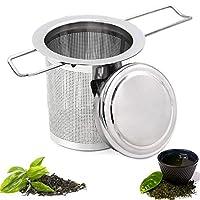 wellxunk® acciaio inossidabile filtro per tè infusore, filtro da tè per teiere, infusore da tè colino da tè, setaccio filtro tè con coperchio e manico pieghevole, per tisane, tè sfuso, teiere