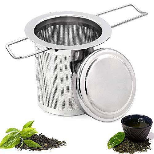 WELLXUNK® Acciaio Inossidabile Filtro per tè Infusore, Filtro da tè per Teiere, Infusore da Tè Colino da Tè, Setaccio Filtro Tè con Coperchio e Manico Pieghevole, per Tisane, Tè Sfuso, Teiere (M1)